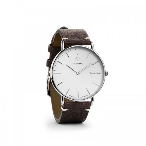 NICK CABANA Boheme Blanc Buffalo 36mm Brown Leather Strap