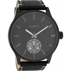 OOZOO TIMEPIECES 50mm Unisex Black Leather Strap C8214