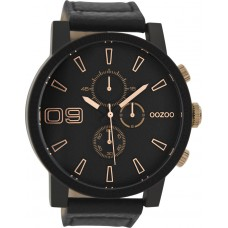 OOZOO Timepieces XXL Black Leather Strap C9034