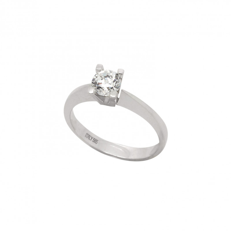 Solitaire White Gold Ring with Zirgon #247